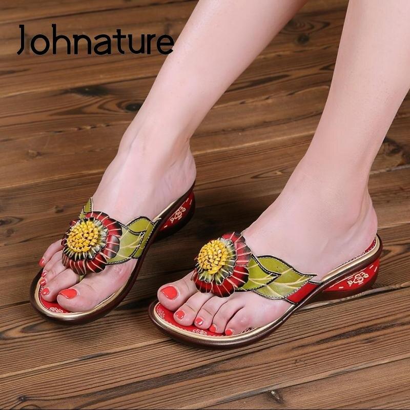 Sapatos de Couro Pintados à Mão Johnature Flip Flops Nova Mulher Verão Genuíno Chinelos Cunhas Flor Lazer Senhoras 2021