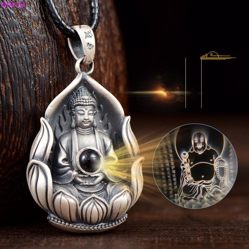 BOCAI S999 فضة قلادة الإبداعية الرجال والنساء راعي سانت تميمة Amitabha النقي الأرجنتيني سلسلة عنق مجوهرات