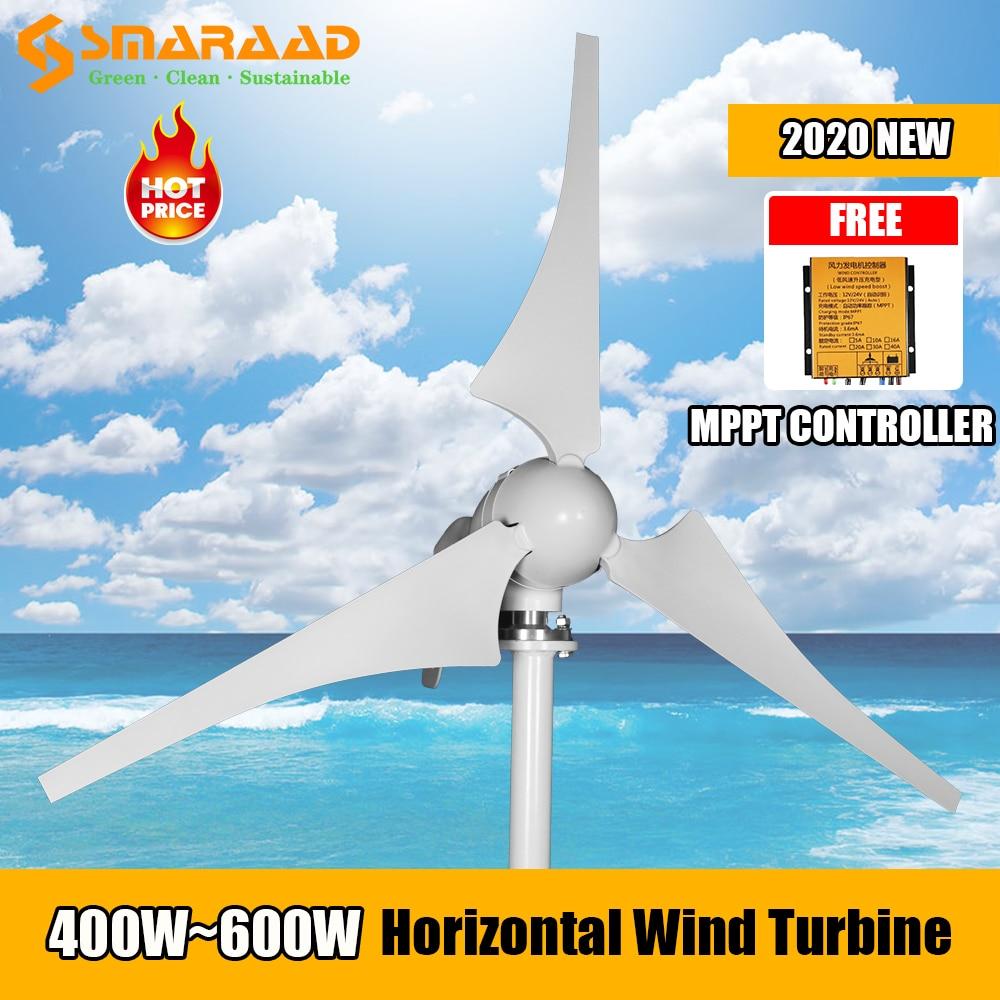 400W 600W 800W nueva energía 3 5 cuchillas molino de viento 12v 24v pequeña turbina aerogeneradora libre MPPT controlador para farolas domésticas