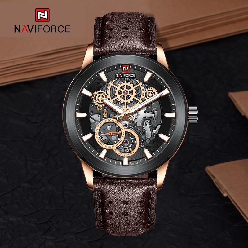 2021 NAVIFORCE Top Brand New Men's Luxury Automatic Mechanical Watch Stainless Steel Waterproof Busi