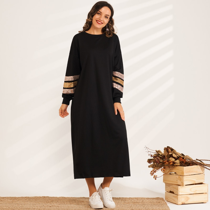 منتج جديد السيدات الموضة الترتر خياطة رقيقة فضفاضة ضئيلة سترة طويلة فستان رياضي غير رسمي المرأة