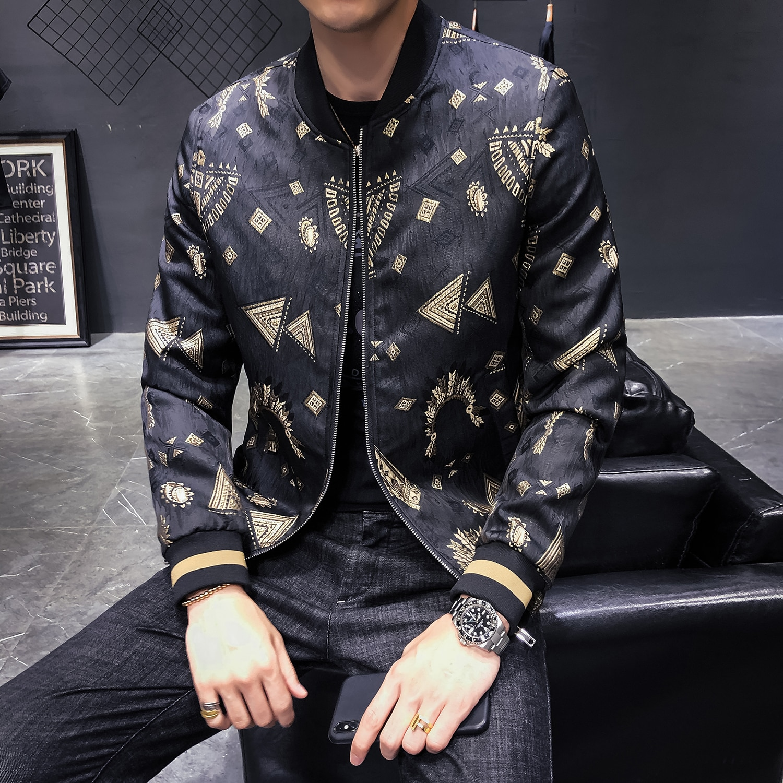 Chaqueta de hombre con tejido Jacquard abrigo suelto para hombre chaqueta de bombardero con cremallera Casual ropa de calle Hip Hop ajustado chaqueta de piloto ropa de hombre