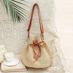 Drawstring One Shoulder Woven Bag Fashion Straw Woven Holiday Beach Bag Bucket Bag Female