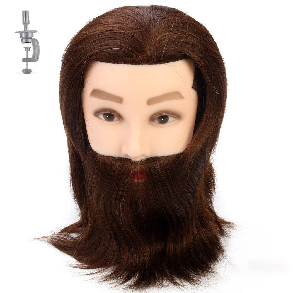 14 ''Коричневый Толстый 100% настоящие человеческие волосы манекен мужчины голова с бородой для парикмахеров мужские тренировочные головы Парикмахерская практика