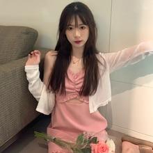 Two Piece Set Women Hot Girl Suspender Dress Summer Korean 2021 New Care Machine Hollow Design Feeli