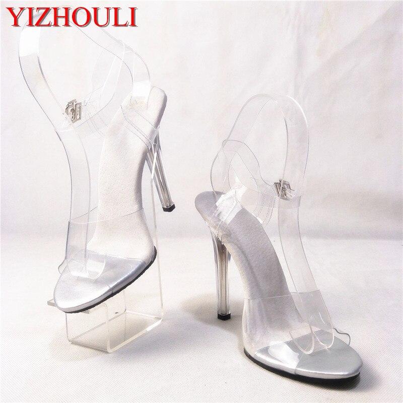 12 cm heel high fashion women's sandals, transparent high heel women's party wedding shoes, model fashion show dance shoes