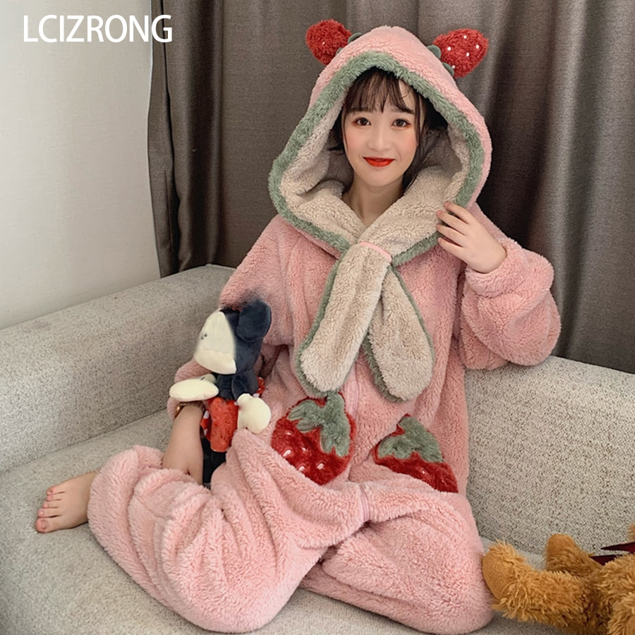 Inverno quente com capuz feminino pijama onesie bonito morango doce menina manga longa camisola solta roupas para casa adulto onesie