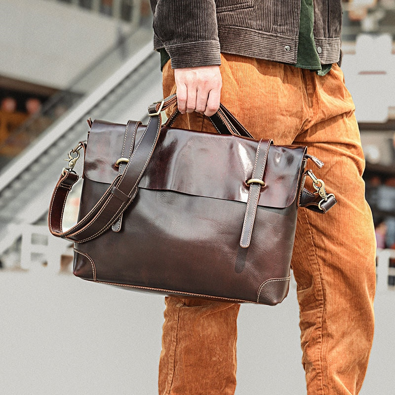 natural real leather men's capacity portable briefcase computer bag simple casual crazy horse leather business messenger bag