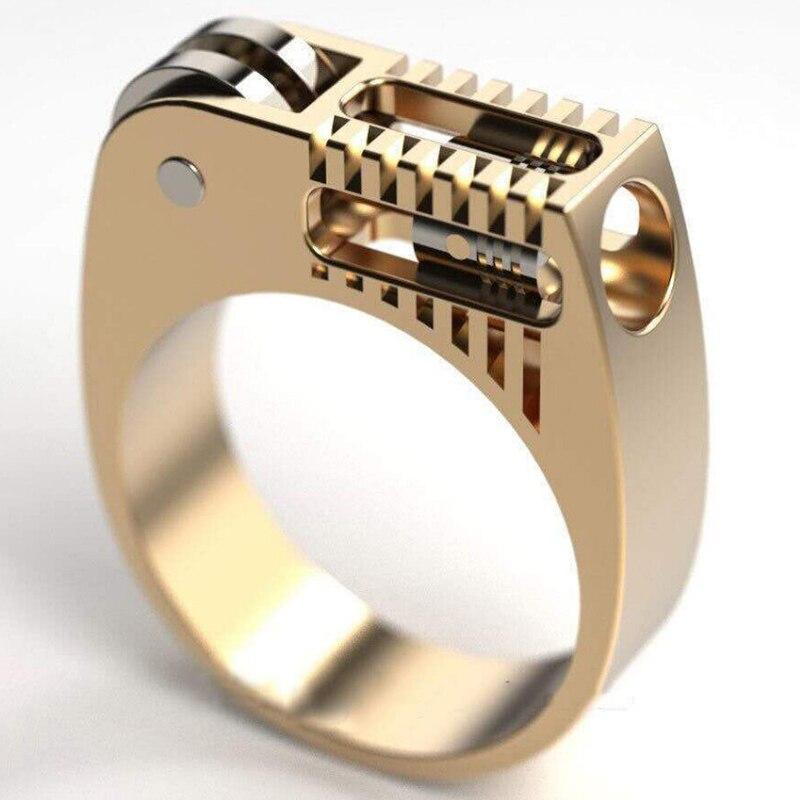 Boho géométrique mécanique roue dentée hommes Bague couleur or Steampunk métal bagues pour femmes bijoux modernes Bague Femme