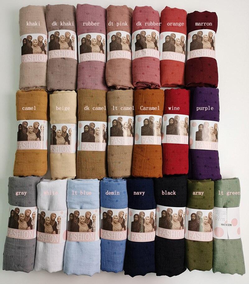 10pcs Luxuey pom pom cotton Scarf Crinkle Women Solid muslim Hijabs Muffler Shawls Pashmina Wrap Hijab Scarves Headscarf Scarf
