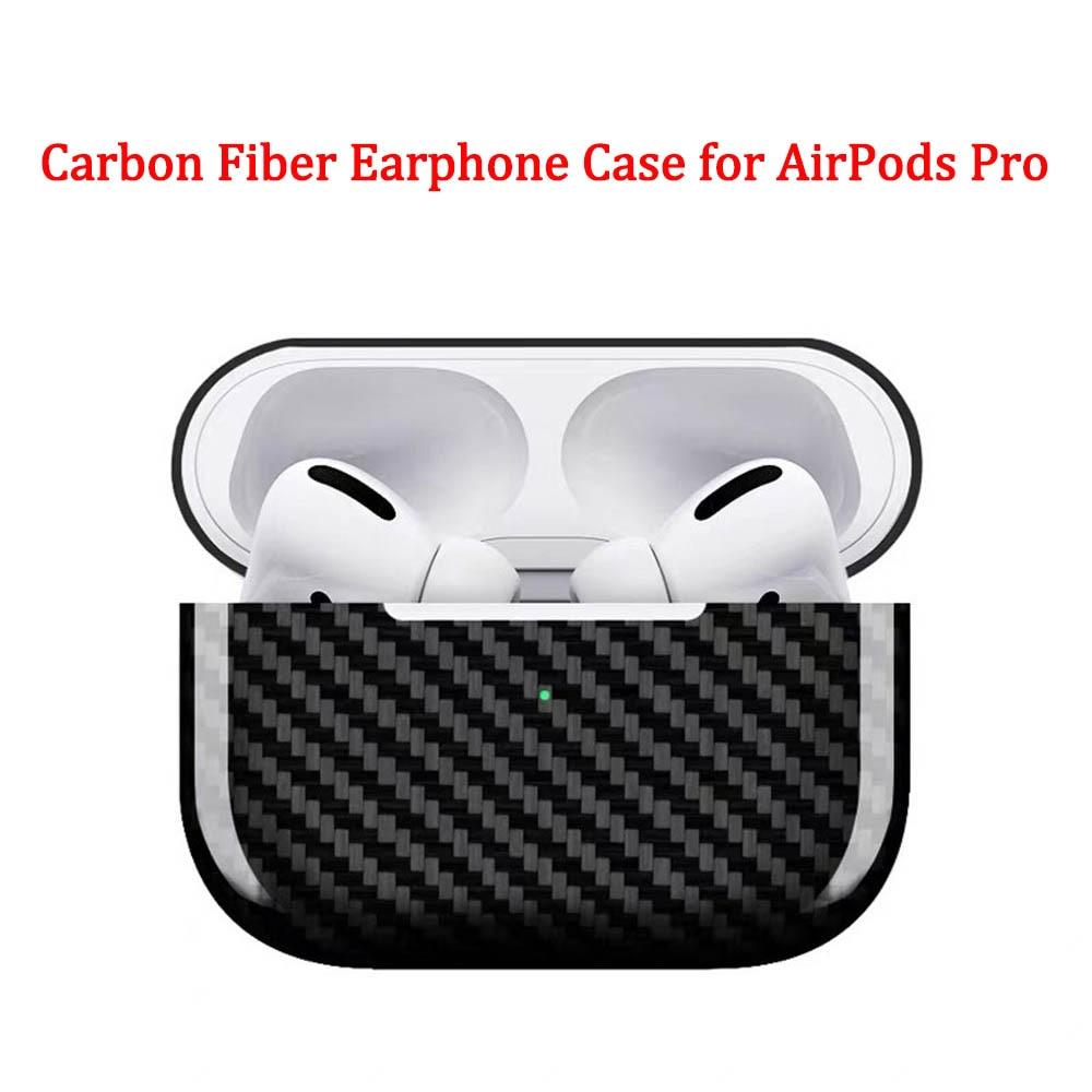 Funda de fibra de carbono para auriculares para Apple AirPods Pro funda 2019 Real fibra de carbono LED inalámbrico auricular caja de carga estuche rígido