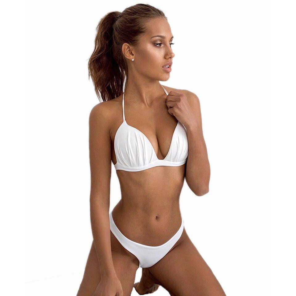 2 piezas conjunto de Bikini con cuello Halter push up sexy mujer traje de baño bajo Walsh brasileño baño Blanco sólido complicado traje de baño de las niñas 2020