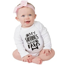 Funny My Siblings Have Paws Letters Print Baby Boys Girls Long Sleeve Bodysuit Cotton 0-18M Toddler