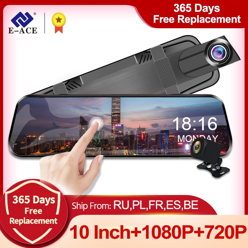 E-ACE Car Dvr 10 Inch Touch Screen Video Recorder Auto Registrar Stream Mirror With RearView Camera