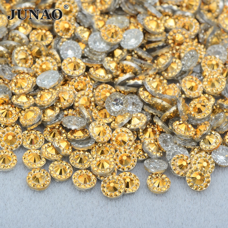 JUNAO 4 5 6 mm oro plata resina flores uñas Rhinestones Flatback redondo cristal piedras Diamante de imitación sin necesidad de coser cuentas para manualidades DIY