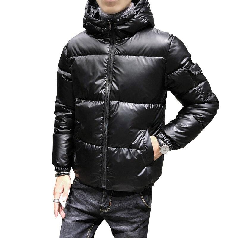Männer Winter Jacke Mäntel Casual Dicke Warme Mit Kapuze Baumwolle Parka Männer mode einfarbig dünne Glänzend mantel plus größe 5XL