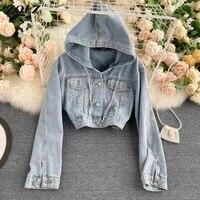 zqlz hooded denim jacket women single breasted solid short vintage overcoat female slim casual biker streetwear jeans coat mujer
