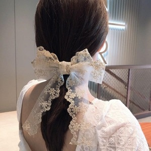 1PCS Hairpins 2020 Korean Fashion Barrette Hair Accessories Multi-layer Bow Lace Spring Clip Embroidery Top Clip