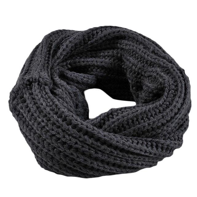 Outono inverno cachecol menino menina de malha cachecol de lã redonda cachecol xale saco de inverno colarinho quente cor sólida lenço coreano #30