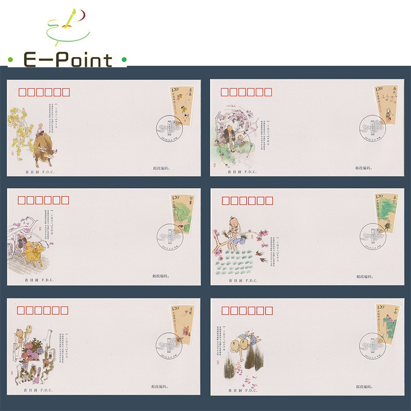 6 uds FDC China sellos postales 2015-4 chino 24 Solar Terms-Primavera (Grupo I)
