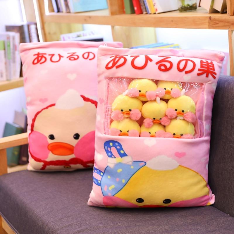 8pcs mini yellow duck plush toy in a stuffed Pillow Korea Red Cheek Duck Pudding Snacks in a Cushion Sofa Decor Soft Thow Pillow