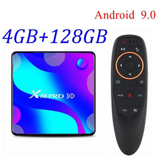 X88 pro 10 android 10 smart tv box 4gb 128gb rk3318 quad core 4k hd 2.4g/5g duplo wifi netflix youtube media player conjunto caixa superior