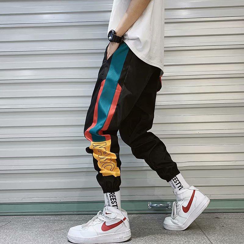 Hip Hop Streetwear erkek ekleme Joggers pantolon moda erkek rahat kargo pantolon pantolon yüksek sokak elastik bel Harem pantolon erkekler