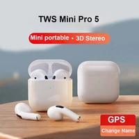 Наушники Mini Pro 5 TWS, Bluetooth-наушники, игровая гарнитура, настоящие беспроводные наушники для телефонов, гарнитура для звонков, наушники-вкладыш...
