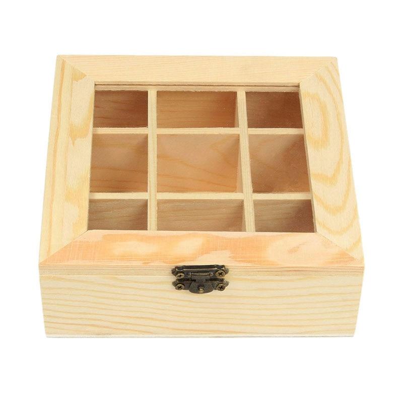 Wooden Tea Bag Jewelry Organizer Chest Storage Box 9 Compartments Tea Box Organizer Wood Sugar Packe