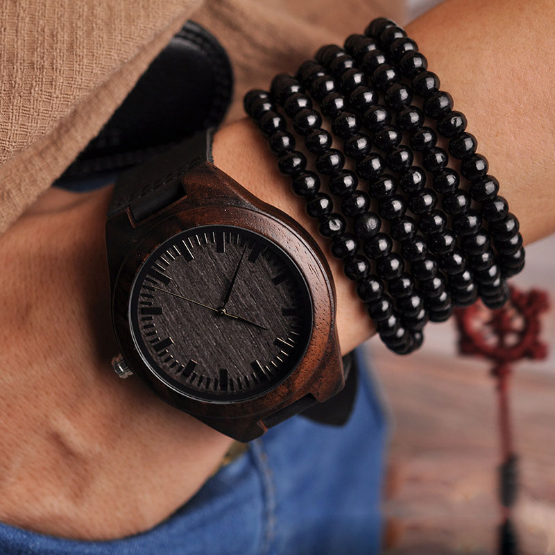 Men Quartz Watch Vintage Style with Sandalwood Dial Leather Band Luxurious Casual Business Watch B88