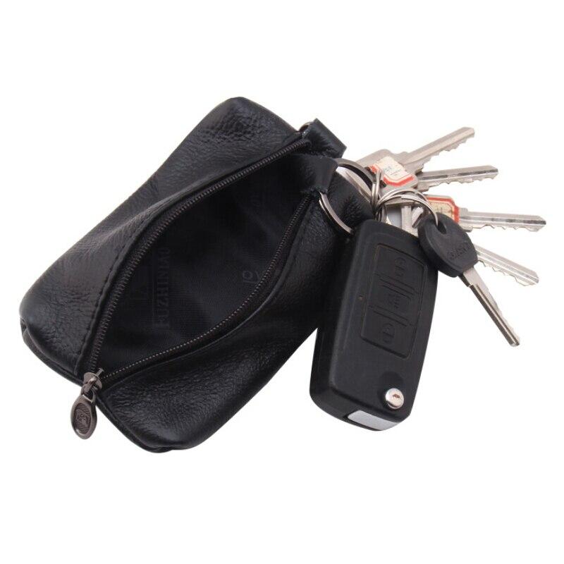 Genuine Leather Man Key Wallets Short Women Men Key Holders Keys Organizer Zipper Car Key Chain Wall