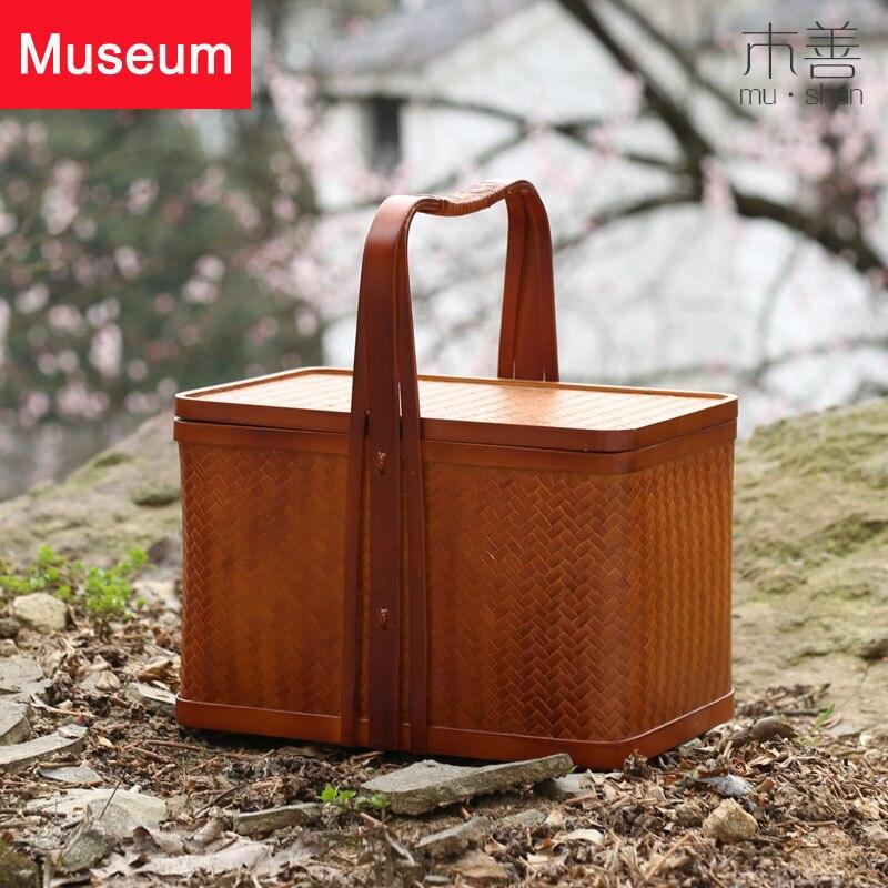 Bambu tecelagem aceitar cesta a caixa de presente cesta de piquenique lua bolo caixa de embalagem mão cabas mala chá conjunto caixa estilo chinês mão