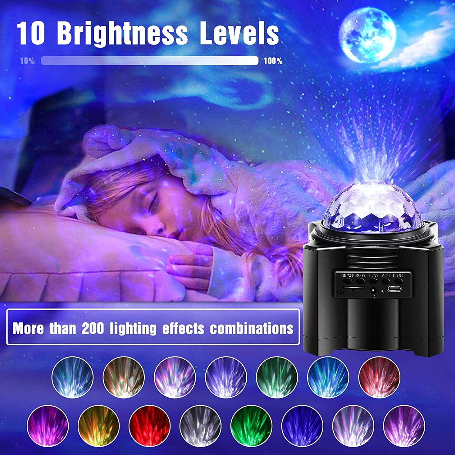 Galaxy Star projector LED moon wave projection lamp sky luminous nebula suitable for home use in bedroom ceiling room decoration enlarge