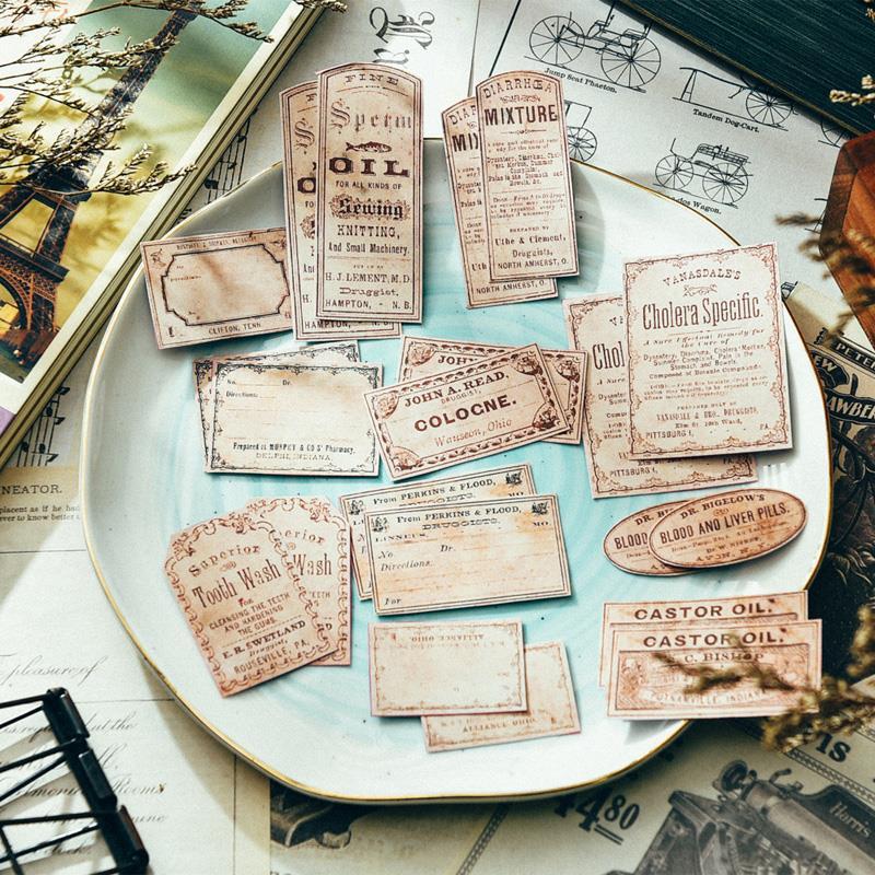 22pcs/bag Junk Journal Vintage Bottle Sticker DIY Scrapbook Album Diary Gift Seal Happy Plan Mobile Computer Decorative Sticker