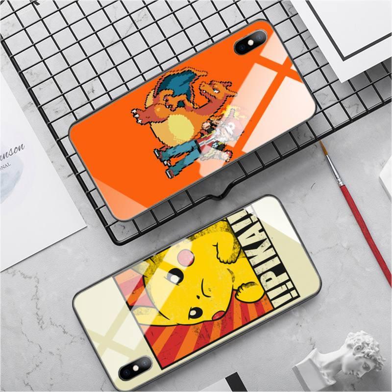 Capa de telefone para iphone 11 jogo menino pokemonsred vermelho pc + tpu vidro temperado capa iphone se2020 7 8 plus x xs xr max