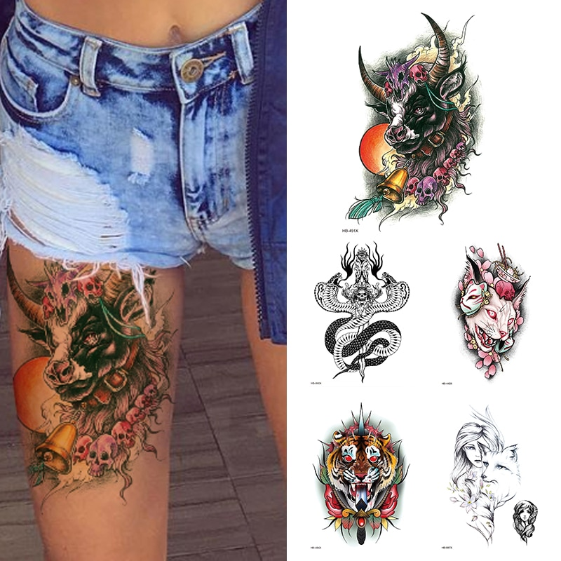 Tatuaje temporal a prueba de agua para mujeres, tatuaje de moda con flores de Toro, manga de brazo, tatuaje falso para niñas y niños