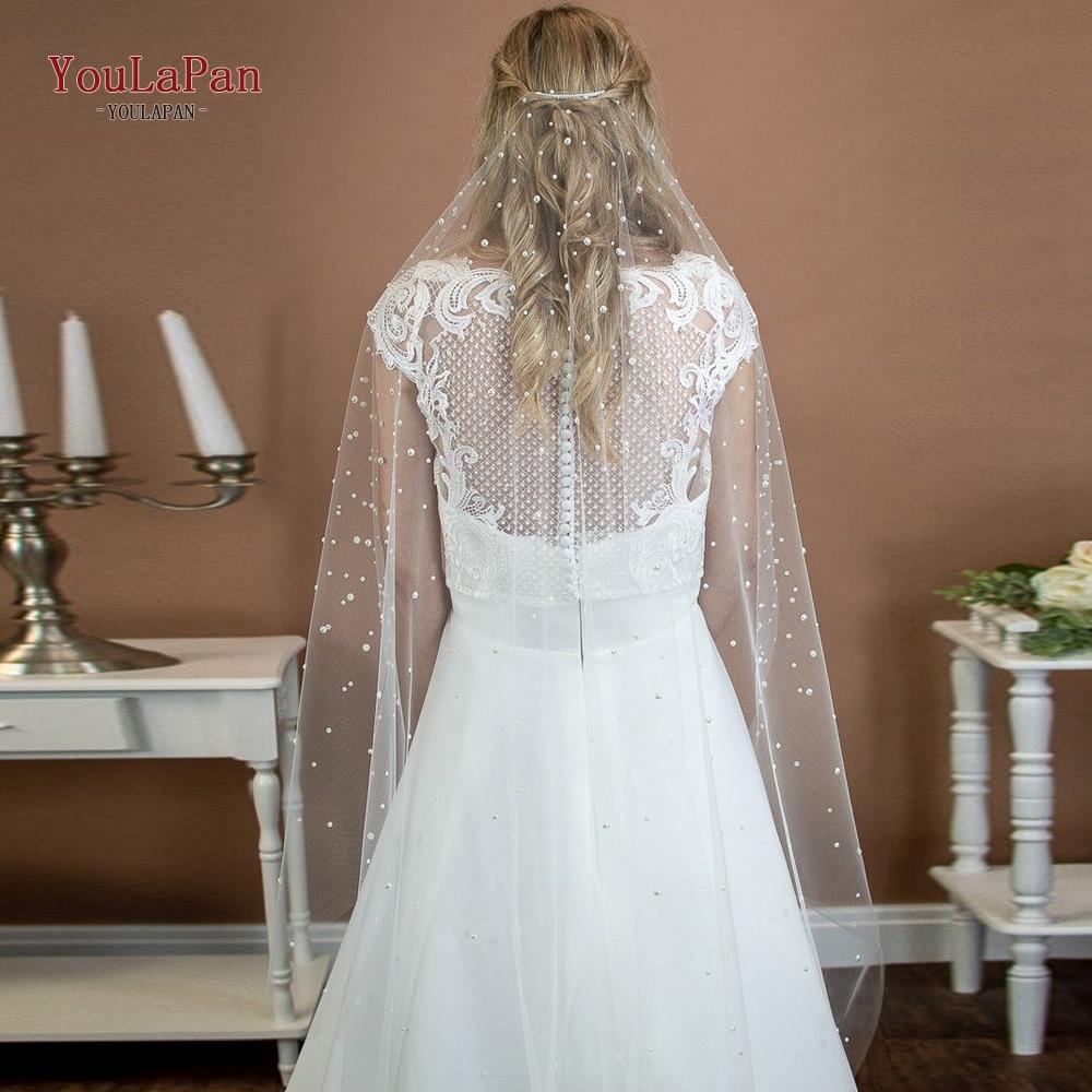YouLaPan  V01 1Tier Wedding Veil White Ivory Fingertip Wedding Veil with  Comb Bridal Veil with Crystal Wedding Accessories fingertip veil with small flowers