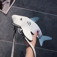 funny shark women shoulder bags cartoon chain messenger bag ladies lovely pu leather phone bag crossobdy bags