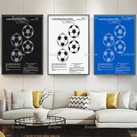 soccer ball patent poster colour blueprint or black and white home decor canvas wall art prints living room decoration gift