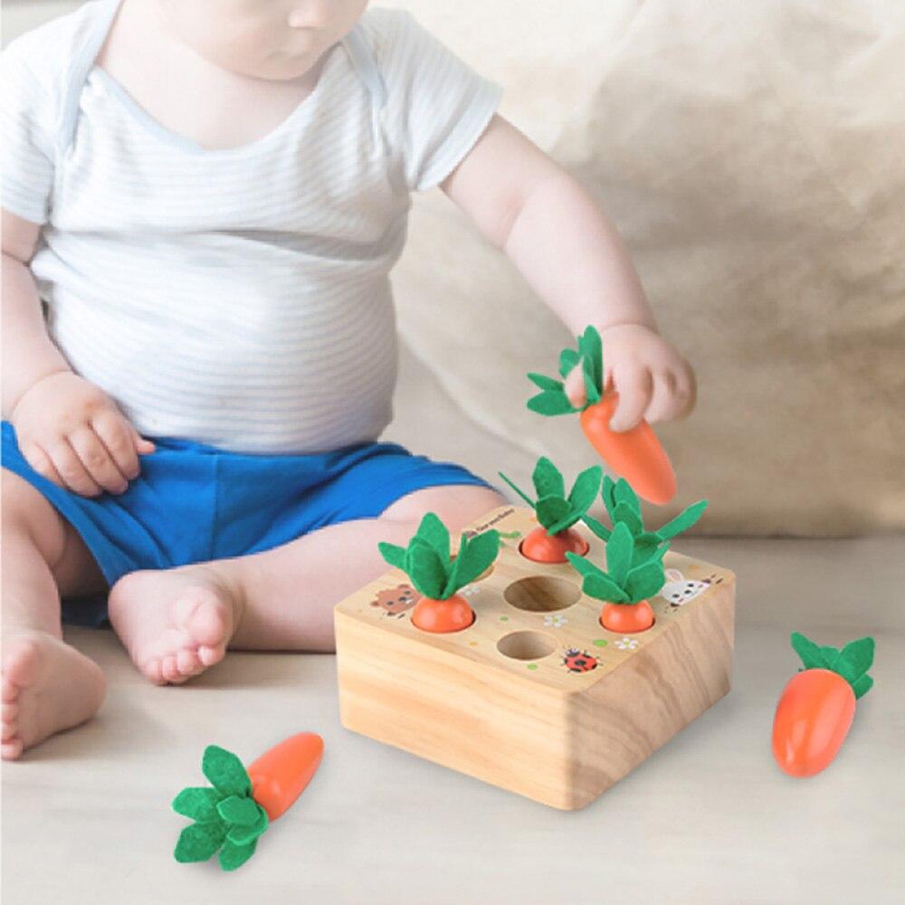 Regalos de desarrollo de cosecha para niños pequeños, juego en casa, juguetes de madera bonitos Montessori, rompecabezas de clasificación de tamaño, zanahorias