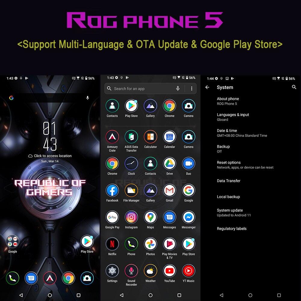 Global ROM ASUS ROG 5 5G Phone 16GB RAM Snapdragon888 Fast Charging 65W Battery 6000mAh ROG5 Professional Gaming Smartphone