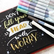 Marqueur de dessin de stylo micron métallique 10 couleurs pour papier obaque Scrapbooking Art brosse papeterie colorée fournitures scolaires F614