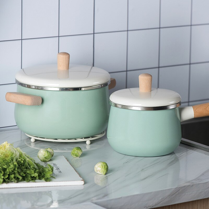 Enamel soup pot baby saucepan milk pan gas cooker induction cooker universal Nordic style macaron kitchenware set enamel LB51214