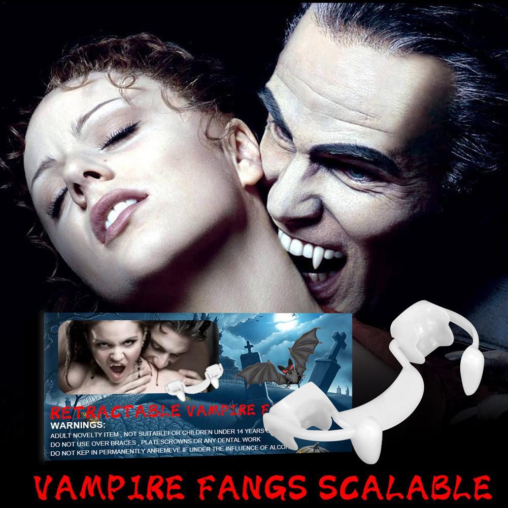 Зубы вампира на Хэллоуин, мягкие силиконовые клыки, протезы, выдвижные Зубы вампира, реалистичные нетоксичные клыки