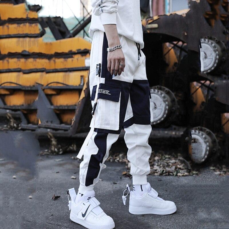 2020 new Hip Hop Overalls Streetwear Men's Splice Joggers Pants Fashion Casual Cargo Pant Trousers High Street Harem Pant Men