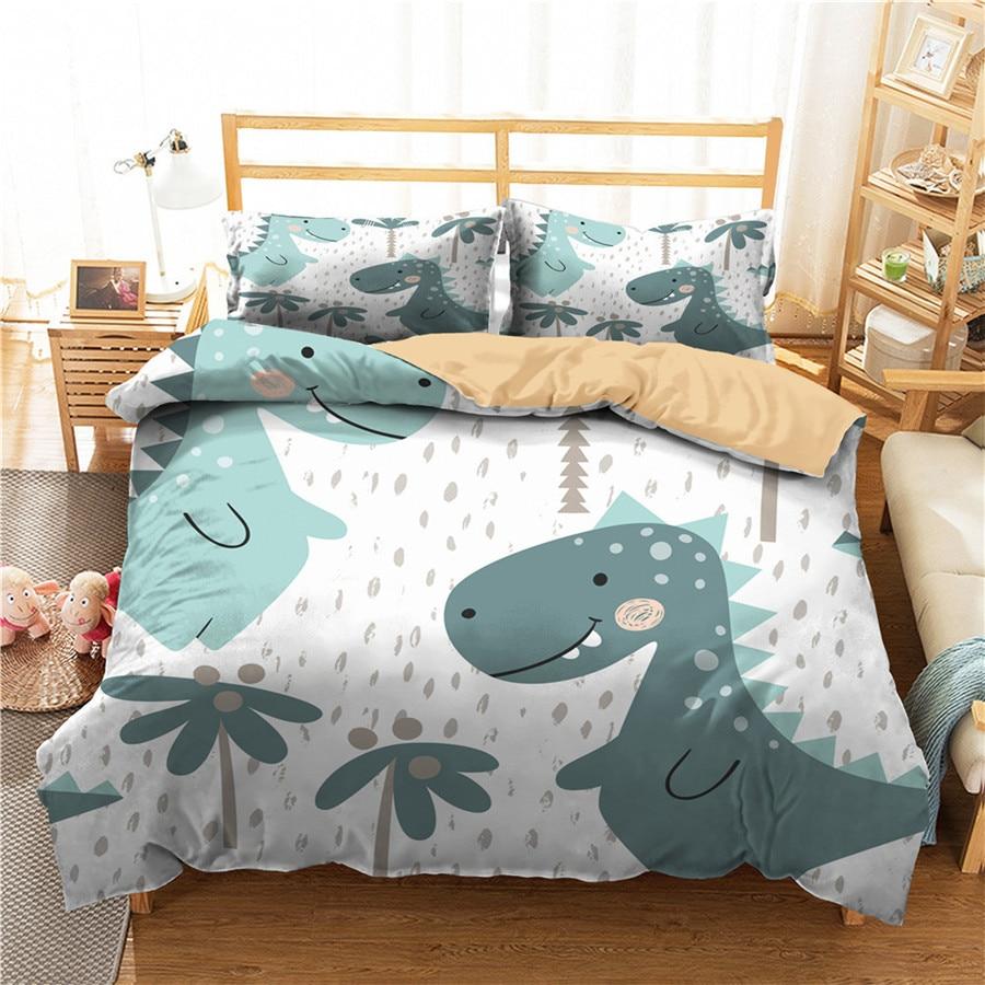 Juego de cama con edredón impreso en 3D, juego de cama, Textiles para el hogar de dinosaurios para adultos, ropa de cama con funda de almohada # DG10