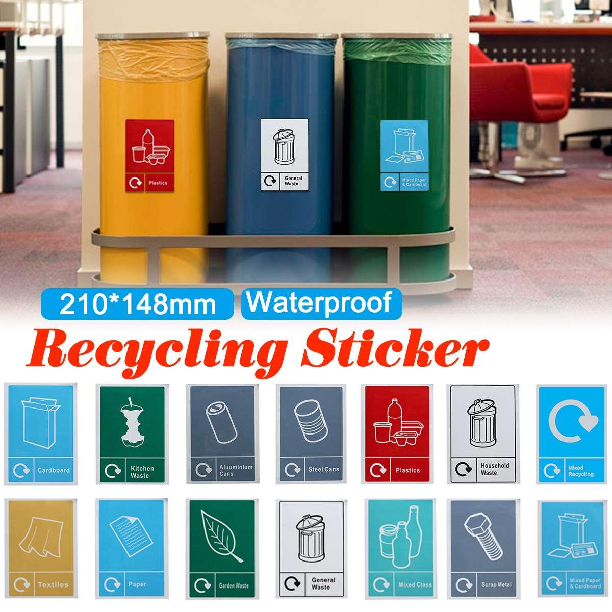 Pegatinas de cubo de basura, letrero de clasificación, pegatina de reciclaje, señalización de residuos, impermeable, Logo General de basura