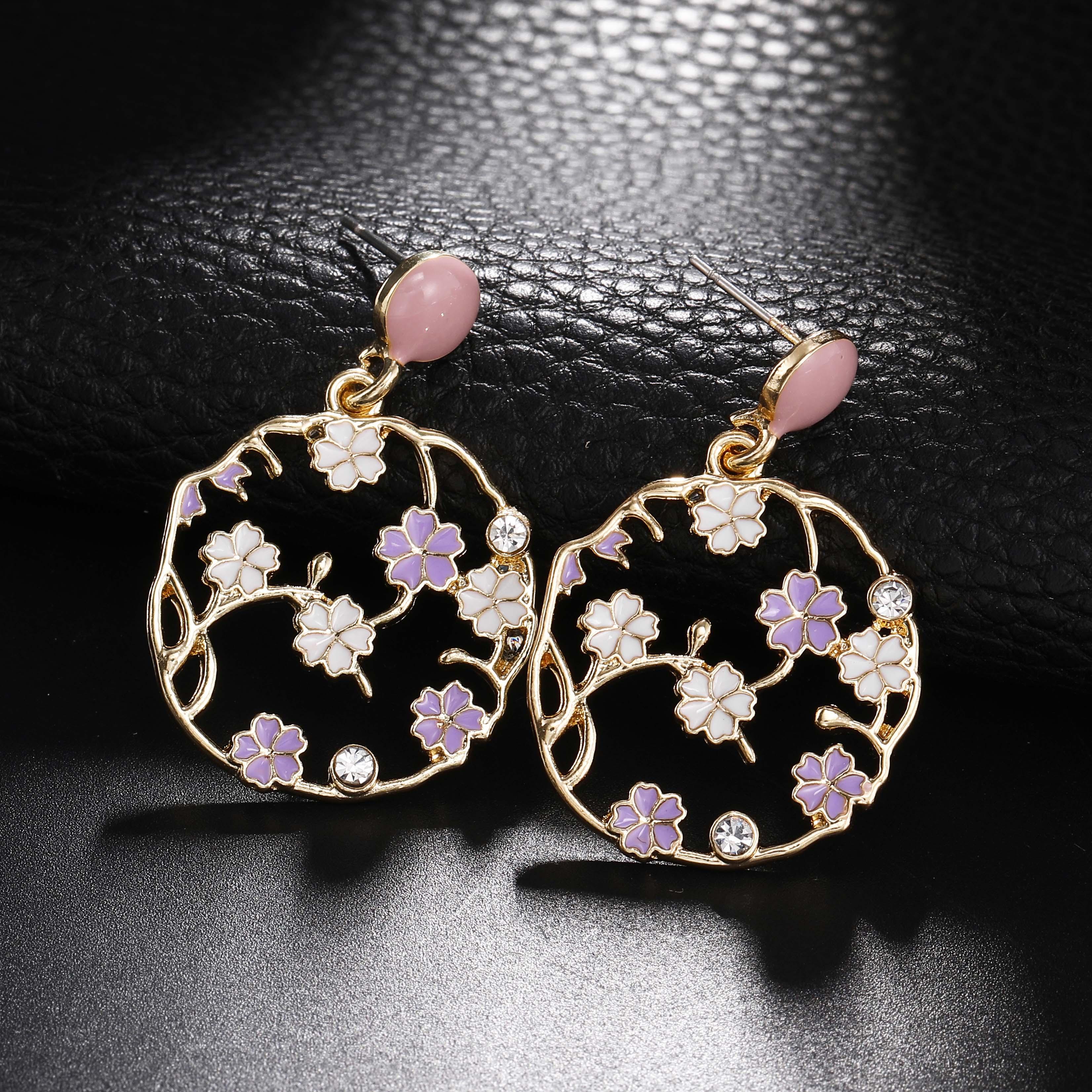 2019 New Arrival Trendy Jewelry Round Geometric Earrings Korean Stlye Pink Purple Drop Earrings Temperament