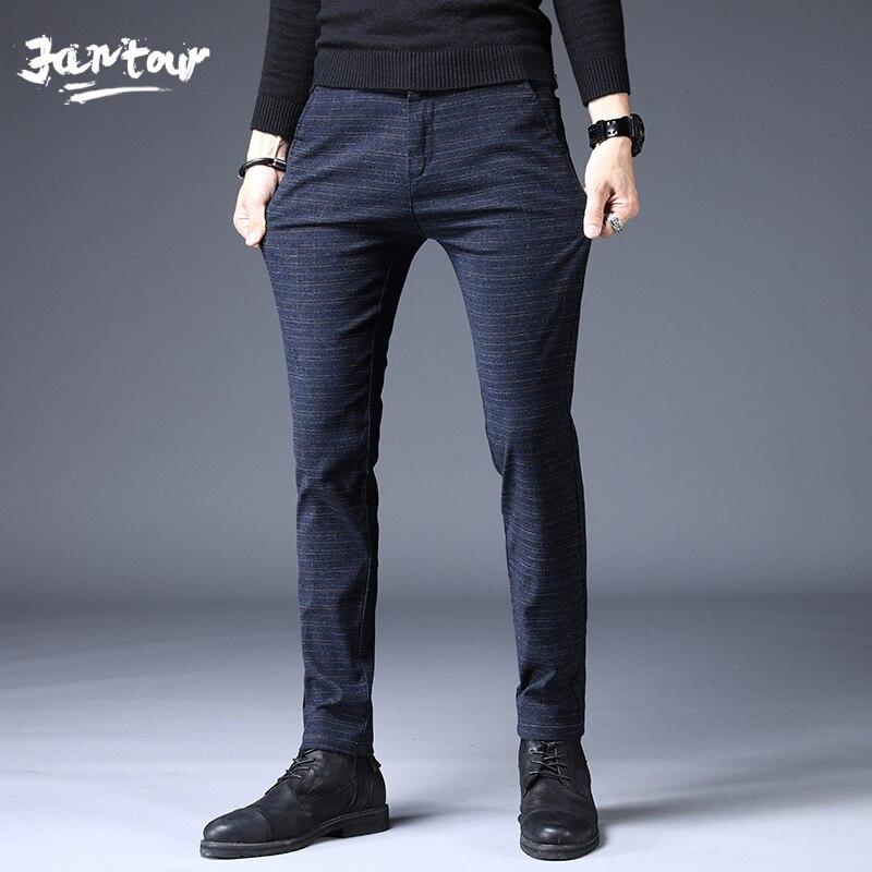 Los hombres de moda de marca pantalones de alta calidad Primavera Verano de rayas plano clásico longitud Pantalones Casual Hombre 28-38