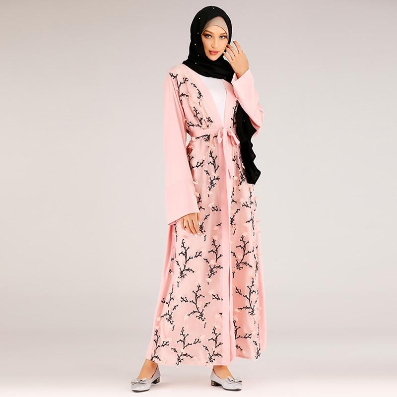 Floral Kimono Abaya Dubai Hijab Muslim Dress Turkish Islamic Clothing Abayas For Women Kaftan Caftan Robe Islam Namaz Elbise